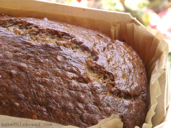 Banana Nut Bread in Wooden Baker close up BakeThisBread