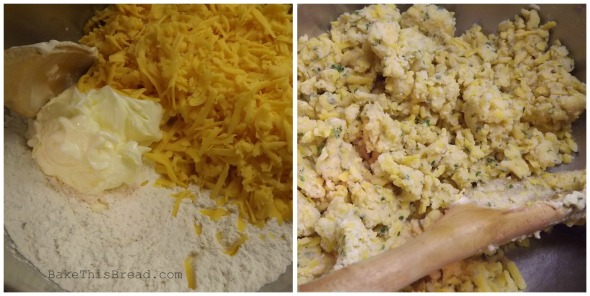 Mixing Cheese Butter and Flour for Vintage Cheese Puffs Crackers Bake This Bread