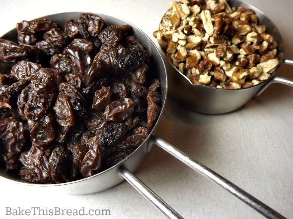 Raisins and Pecans for homemade yeasted cinnamon bread recipe by bake this bread