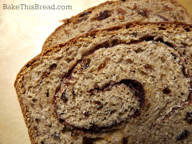 Close up slice of homemade Cinnamon Swirl Bread by bake this bread
