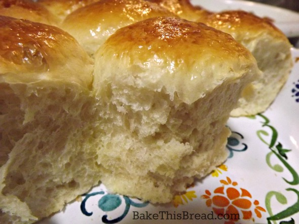 Close up of homemade yeasted buttermilk dinner rolls by bake this bread